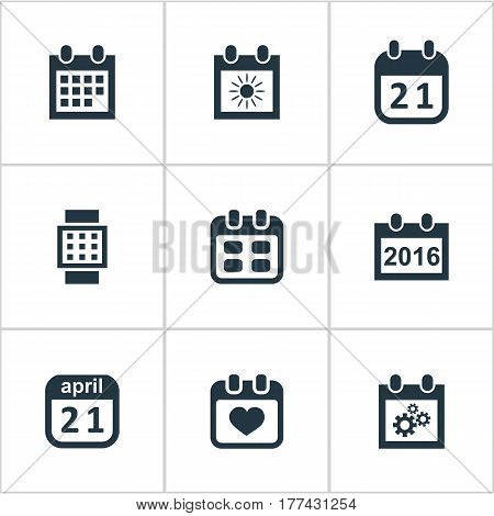 Vector Illustration Set Of Simple Plan Icons. Elements Remembrance, Event, Agenda And Other Synonyms Wheel, Hour And Calendar.