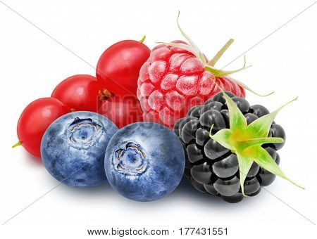 Fresh ripe redcurrant, blackberry, raspberry, blueberry berries isolated on white background.