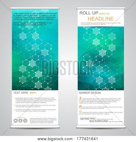 Roll-up vertical banner for presentation and publication. Abstract background. Medicine, science, technology and business templates. Molecule structure of DNA and neurons. Vector illustration.