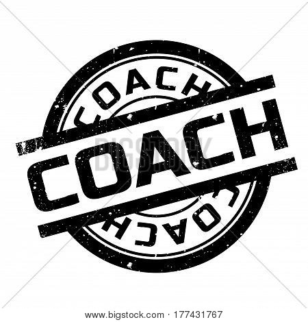 Coach rubber stamp. Grunge design with dust scratches. Effects can be easily removed for a clean, crisp look. Color is easily changed.