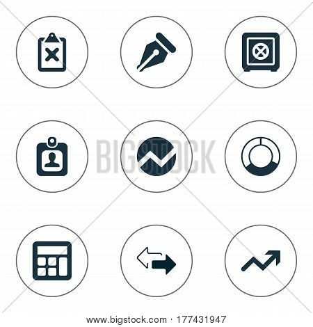 Vector Illustration Set Of Simple Financial Icons. Elements Nib, Cross On Clipboard, Increase And Other Synonyms Math, Pen And Increase.