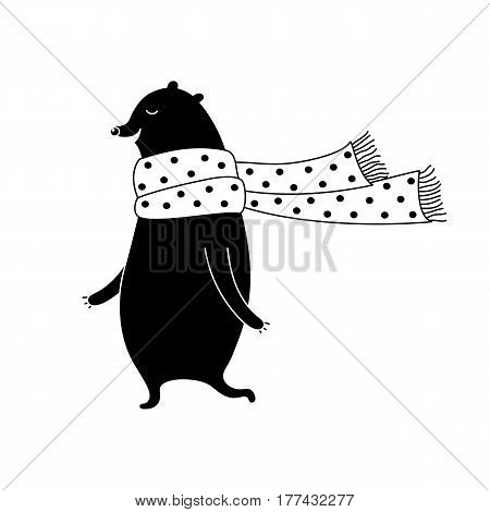 Cartoon bear illustration with sweet bear in scarf. Cute vector black and white bear illustration. Doodle monochrome bear illustration for prints, posters, t-shirts and cards.