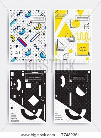 Design posters set. Bright vector illustrations with geometric elements, memphis figure for interior, website banner template, social media, email, print, ads, promotional material