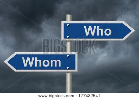 Learning to use proper grammar Blue road sign with words Who and Whom with stormy sky background 3D Illustration