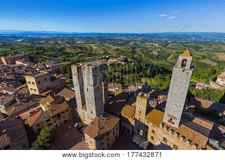 San Gimignano medieval town in Tuscany Italy - architecture background