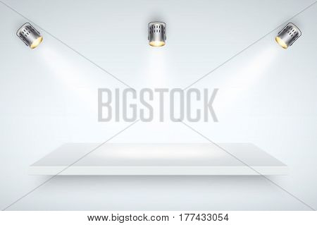 Light box with white presentation platform on light backdrop with three spotlights. Editable Background Vector illustration.