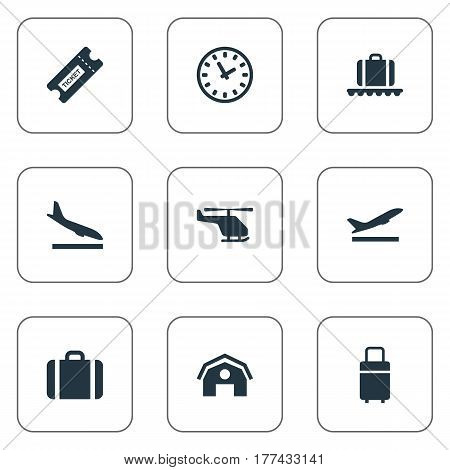 Vector Illustration Set Of Simple Travel Icons. Elements Alighting Plane, Travel Bag, Air Transport And Other Synonyms Luggage, Shed And Coupon.
