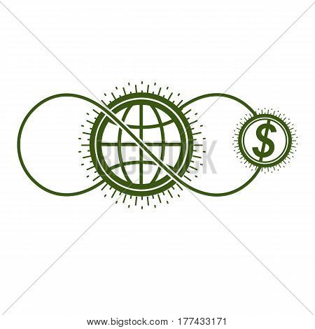 Global Cooperation And Business Conceptual Logo, Unique Vector Symbol Created With Different Element