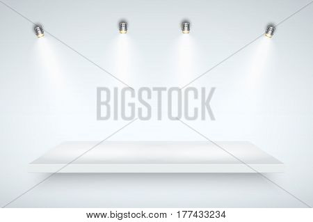 Light box with white presentation platform on light backdrop with four spotlights. Editable Background Vector illustration.