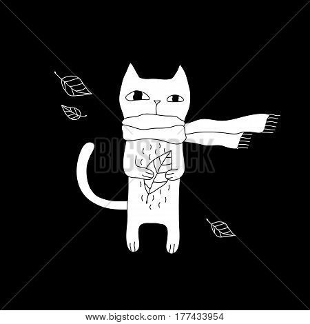 Cartoon animal illustration with hipster cat in scarf. Cute vector black and white animal illustration. Doodle monochrome animal illustration for prints, posters, t-shirts, flyers and cards.