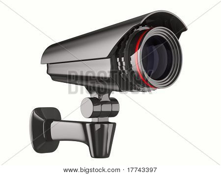 security camera on white background. Isolated 3D image