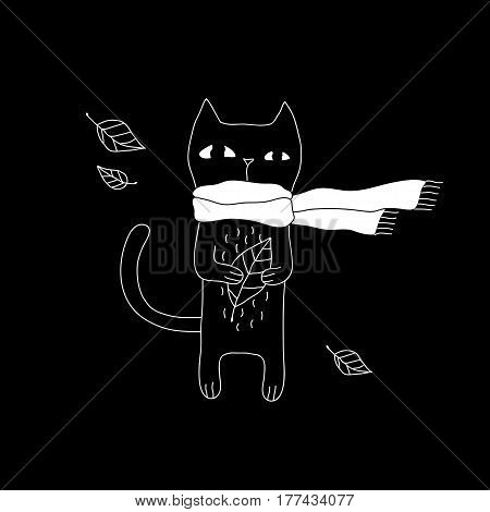 Cartoon cat drawing with hipster cat in scarf. Cute vector black and white cat drawing. Doodle monochrome cat drawing for prints, posters, t-shirts, flyers and cards.