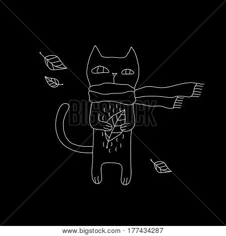 Linear cartoon cat illustration with hipster cat in scarf. Cute vector black and white cat illustration. Doodle monochrome cat illustration for prints, posters, t-shirts, covers, flyers and cards.