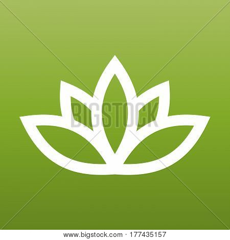 White lotus symbol on green background. Spa and wellness theme design element. Vector illustration.