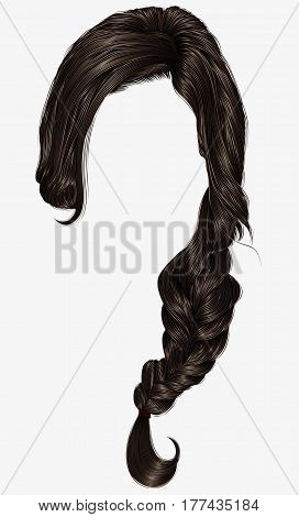 trendy women hairs  pigtail . braid plait .   fashion beauty style . realistic  3d .