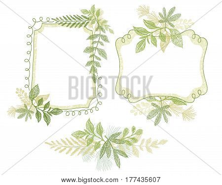 Green doodle flower hand drawn frame patterns, invitation, wedding or greeting card design. Greenery plant border composition, leaves decoration vector.
