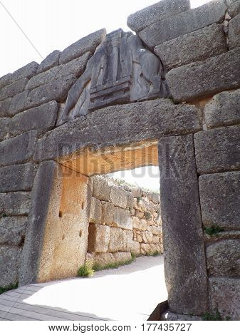 The Lion's Gate at the Archaeological Site of Mycenae, Peloponnese Peninsula of Greece
