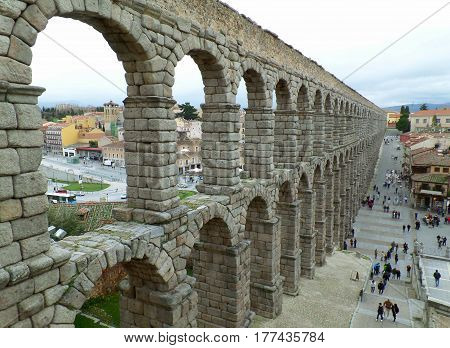 Amazing View of the Roman Aqueduct of Segovia, Spain