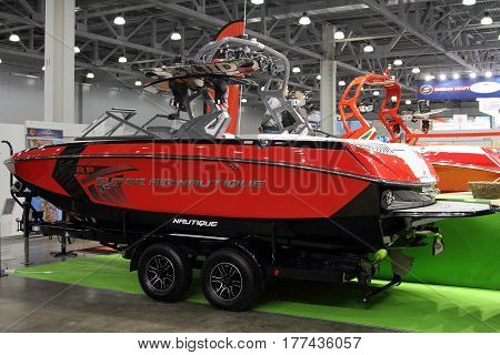 MOSCOW - MARCH 09 2017: Boat Super Air Nautique for 10 International boat show in Moscow. Russia.