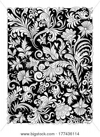 Design of spiral ornamental floral notebook cover. Cover for notebook with hand drawing floral ornament. .Indian motif ornament, paisly. Black and white line art. Vintage style design.