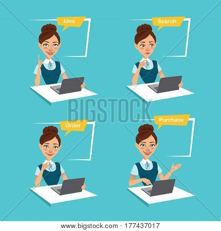 Woman is making order online. Four stages of process. Four Business characters. Idea, search, order, purchase. Vector illustration