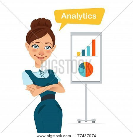 Woman is standing with folded arms near flipchart with chart and diagram. Business character. Vector illustration