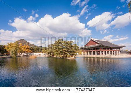 Lake With Blue Sky At Gyeongbokgung Palace, Seoul, South Korea.