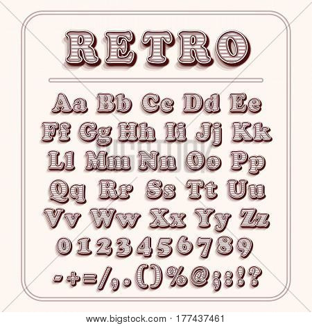 Retro font on light red background. The alphabet contains letters, numbers, brackets, exclamation question marks, point, comma, slash