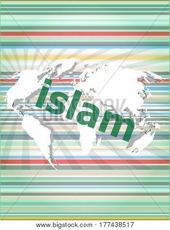 Islam, Hi-tech Background, Digital Business Touch Screen. Concept Of Citation, Info, Testimonials, N