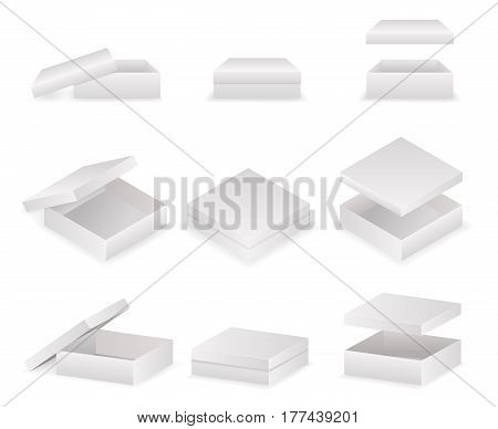 Paper boxes lids set open and closed pack isolated vector illustration