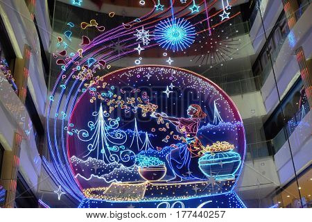 SHANGHAI - FEBRUARY 29, 2016: Interior of the luxury shopping mall for The Chinese new Year of Monkey set up where at downtown in Shanghai. Just before the Spring Festival and Chinese new year.