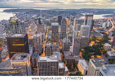Aerial view of the Seattle city skyline at dusk