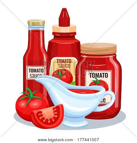 Tomato sauce, ketchup in glass jar with vegetable. Vector illustration for restaurant menu.