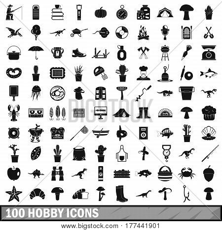 100 hobby icons set in simple style for any design vector illustration