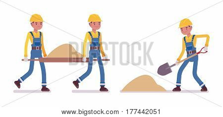 Set of male construction worker in a yellow protective hardhat, blue overall, shoveling and carrying sand, full length, isolated, white background