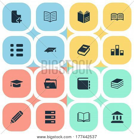 Vector Illustration Set Of Simple Education Icons. Elements Opened Book, Checklist, Literature And Other Synonyms Diary, Academic And Open.