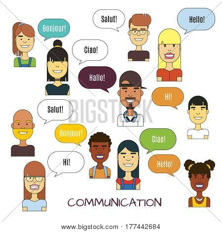 People communication vector illustration. International foreign language communications. Speech english and french, spanish and italian
