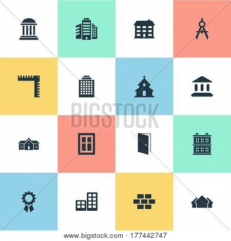 Vector Illustration Set Of Simple Structure Icons. Elements Flat, Academy, Block And Other Synonyms Superstructure, Booth And Residence.