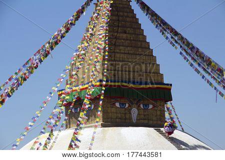 Buddhist religious stupa temple in Kathmandu on Nepal