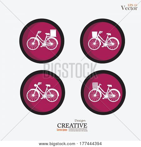 set of Bicycle icon on circle.vector illustration.