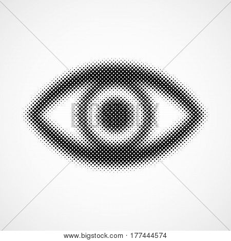 Abstract eye icon in halftone design. Vector illustration. Black dots human eye
