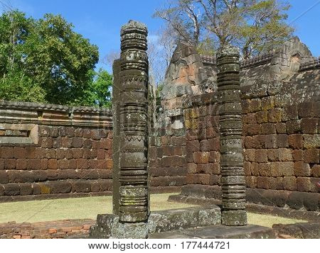 Beautiful historic remains and ancient stone walls of Prasat Hin Phanom Rung, famous ancient Khmer Temple in Thailand