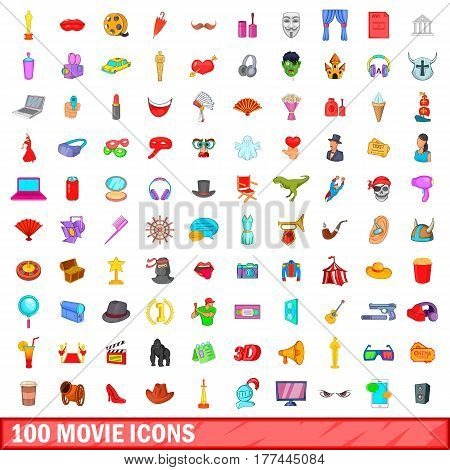 100 movie icons set in cartoon style for any design vector illustration