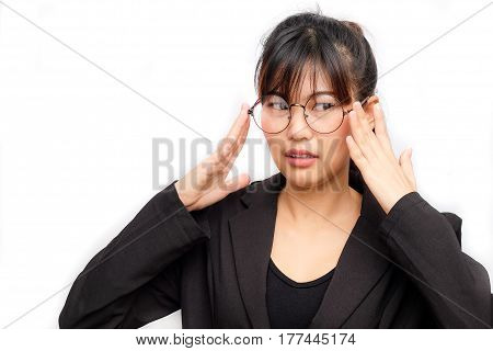 Thoughful Business Asian Glasses Women Looking Up