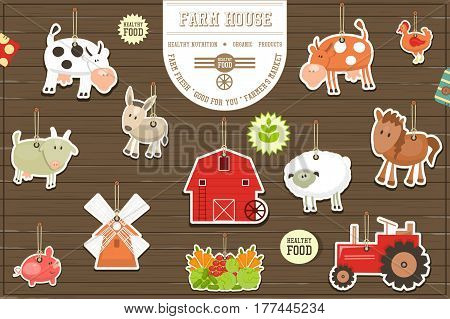 Farm Stickers Collection. Livestock Animals. Fresh Healthy Organic Food Stickers. On Wooden Background. Vector Illustration.