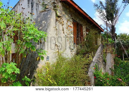 Historic old stone slave masters house on a sugar cane plantation on St. Croix, USVI