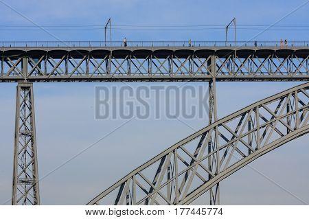 Details of the Dom Luis I Bridge in Oporto, Portugal