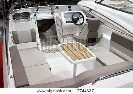 The interior is a modern open pleasure boats. The internal structure.