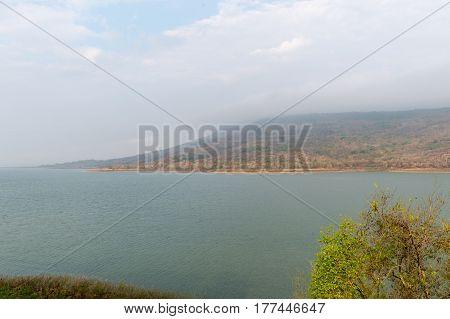Mountains reservoir lake at Lamtakhong Dam Nakhon Ratchasima Province Thailand Natural of mountain and dam
