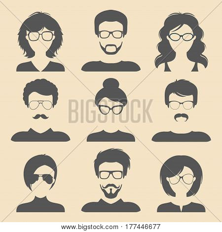 Vector set of different male and female icons in trendy flat style. People faces icons collection